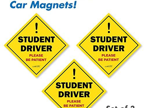 Wall26 Reflective Diamond Student Driver Magnetic Car SignsSet of 3 Safety Caution Sign