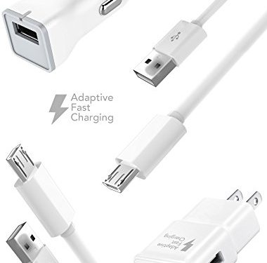Samsung Galaxy S6 / Galaxy S7 Edge / Galaxy S7 / Note 5 / Galaxy S6 Active Charger Fast Micro USB 2.0 Cable Kit by Ixir – {Fast Wall Charger + Fast Car Charger + 2 Cable} Up to 50% faster charging!
