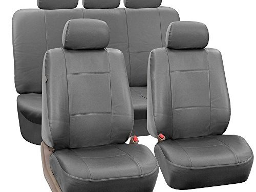 Fit Most Car, Truck, Suv, or Van – FH GROUP PU002115 Classic PU Leather Car Seat Covers, Airbag compatible and Split Bench, Solid Gray