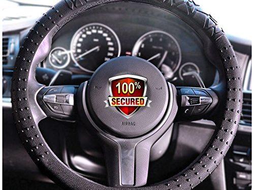 JYPC Silicone Anti-slip Car Steering Wheel Cover Novel Geometrical Pattern Universal 15 inch Black