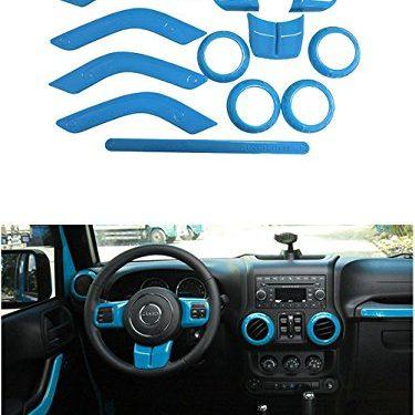 Opall Full Set Interior Decoration Trim Kit Steering Wheel& Center Console Air Outlet Trim, Door Handle Cover Inner, Passenger Seat Handle For Jeep Wrangler JK JKU 2011-2017 4Door  Light Bule 12PCS