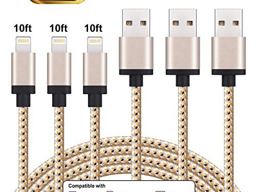iPhone Charger, Everdigi Lightning Cable 3Pack 10FT Nylon Braided Extra Long Charging Cord Compatible with iPhone X 8 8Plus 7 7Plus 6s 6sPlus 6 6Plus SE 5 5s 5c iPad iPod & More Gold