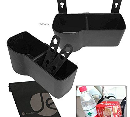 JAVOedge 2 PACK Black Over the Back Car Seat Dual Cup and Food Holder for Kids, Storage Plus Bonus Drawstring Bag