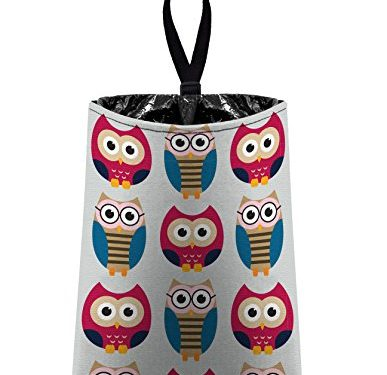 litter bag/garbage can for your car – Auto Trash Owls – Grey and Pink by The Mod Mobile