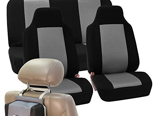 FH GROUP FH-FB102114 Full Set Classic Cloth Car Seat Covers with FH GROUP FH1133 E-Z Travel Car Tissue Dispenser Case Gray / Black- Fit Most Car, Truck, Suv, or Van