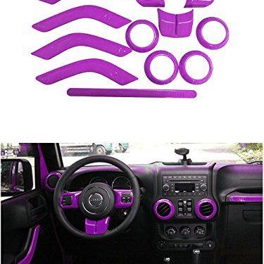 Opall Full Set Interior Decoration Trim Kit Steering Wheel & Center Console Air Outlet Trim, Door Handle Cover Inner, Passenger Seat Handle Trim For Jeep Wrangler 2011-2017 4 Door Purple 12PCS