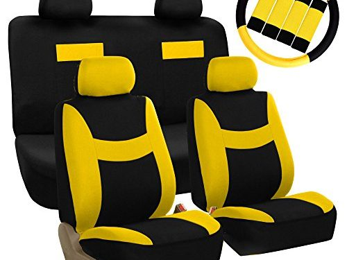 FH GROUP FH-FB038114 Stylish Cloth Full Set Car Seat Covers Combo-FH2033 Steering Wheel & Seat Belt Pads, Yellow / Black- Fit Most Car, Truck, Suv, or Van