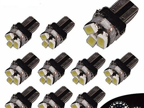 YITAMOTOR 10 X T5 3-SMD Dash Gauge Instrument Side White LED Bulbs Light 74 17 18 37