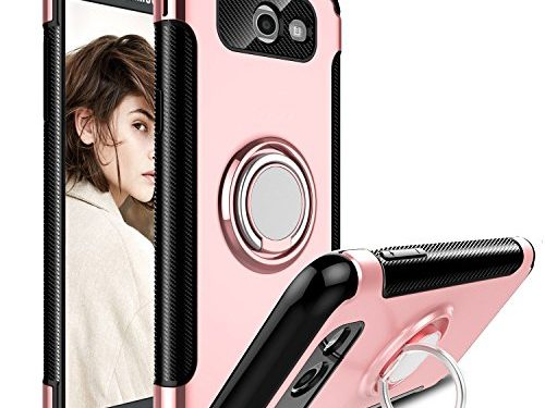 Galaxy J7 2017 Case, J7 Sky Pro Case, J7 Perx Case, Elegant Choise Hybrid Dual Layer 360 Degree Rotating Ring Kickstand Protective Case with Magnetic Case Cover for Samsung J7 2017 Rose Gold