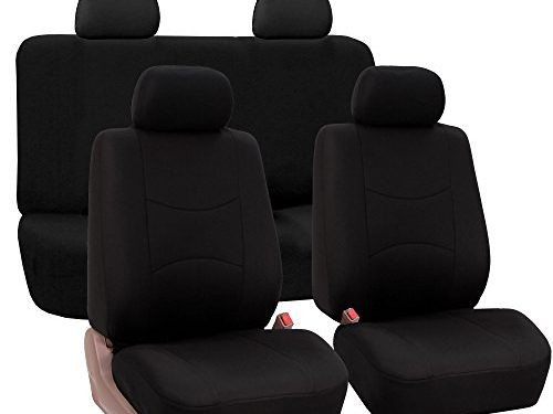 FH GROUP Pique Fabric Full Set Seat Covers Solid Black Color- Fit Most Car, Truck, Suv, or Van