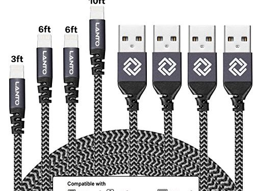 Lanto iPhone Cable, 4Pack 3FT 6FT 6FT 10FT Nylon Braided Lightning to USB iPhone Charger Cord with Aluminum Connector for iPhone 7/7 Plus/6s/6s Plus/6/6Plus/5s/5c/5, iPad/iPod Models