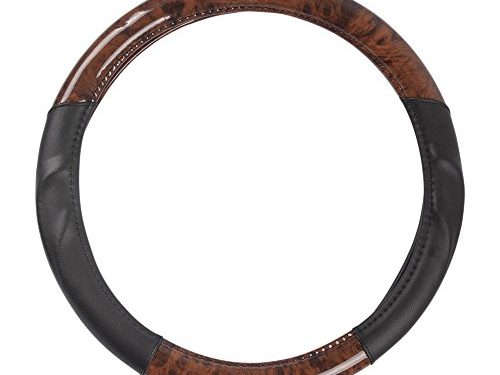 ACDelco Steering Wheel Cover Two Tone Synthetic Leather Black Comfort Grip & Dark Wood Burlwood