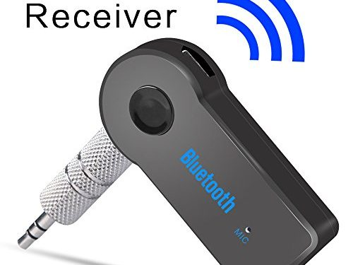 Black – Portable Bluetooth Receiver 3.5mm Mini Bluetooth Car Aux Adapter for Music Streaming Sound System, Hands-free Calling Built-in Mic & Wireless Car Kits for Home/Car Audio Stereo System