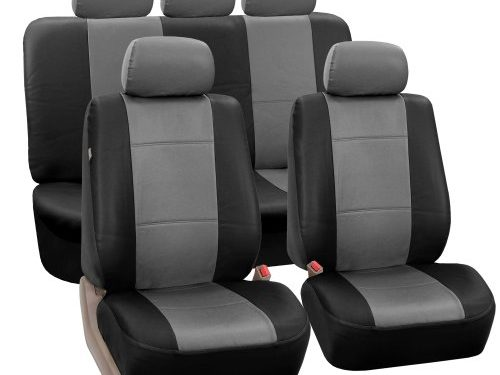 FH-PU002115 Classic PU Leather Car Seat Covers, Airbag compatible and Split Bench, Grey and Black color