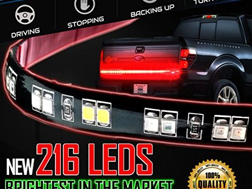 For Running Lights, Brake Signal, Reverse Back Up for SUV, Dodge Ram, Ford F-150 – 216 LED and 468 Lumens – Stop-Alert Most Powerful Multi-Function 60″ Truck Tailgate Light Bar Strip