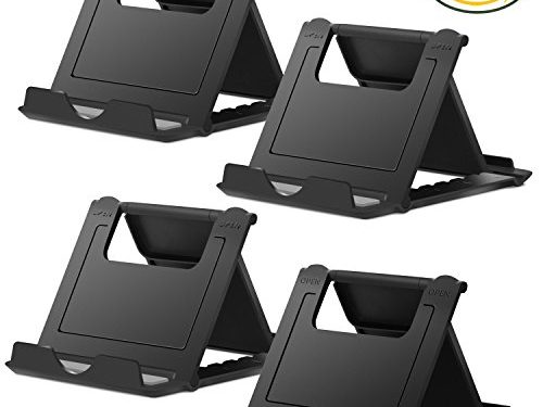 Cell Phone Stand, 4 Pack Smartphone Foldable & Adjustable Multi-angle Pocket Desktop Holder Cradle for Tablets iPhone X/8/7 Plus/7/6s/6/5/4 SE iPad mini, Nintendo Switch Samsung Galaxy, Black