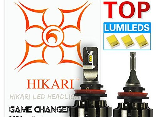 HIKARI LED Headlight Bulbs Conversion Kit -H11 H8,H9,Philips Lumileds 12000lm 6K Cool White,2 Yr Warranty