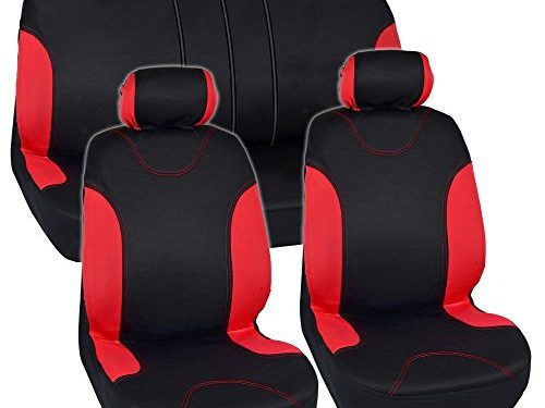 Split Option Bench 5 Headrests Front & Rear Bench – Sleek & Stylish – Red Trim Black Car Seat Covers Full 9pc Set