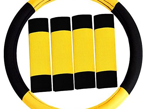 FH Group FH2033YELLOW Steering Wheel Cover Modernistic and Seat Belt Pads Combo Set Yellow