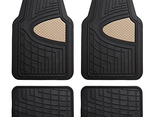 FH Group Heavy Duty Tall Channel F11311BEIGE Rubber Floor Mat Beige Full Set Trim to Fit