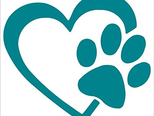 HEART with DOG PAW Puppy Love Vinyl Decal Window Sticker 4″, Teal