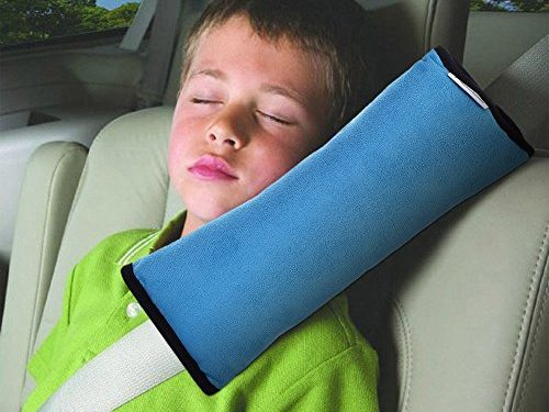 AutoLover Children Car Seat Belts Shoulder Protection Back Cushion Soft Neck Sleep Pillow Vehicle Headrest Harness PadBLUE