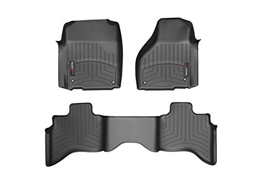 2012-2105 Dodge Ram 1500-Weathertech Floor Liners-Full Set Includes 1st and 2nd Row-Quad Cab; Does Not Fit Models with Floor Mounted 4×4 Shifter; Driver and Passenger Side Floor Hooks-Black