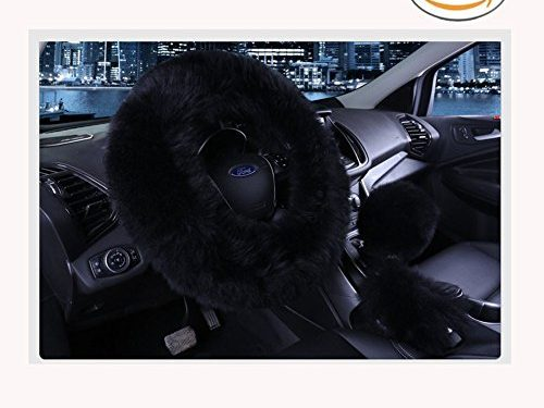 Younglingn Car Steering Wheel Cover Gear Shift Handbrake Fuzzy Cover 1 Set 3 Pcs Multi-colored with Winter Warm Faux Wool Fashion for Girl Women Ladies Universal Fit Most Car(Black)