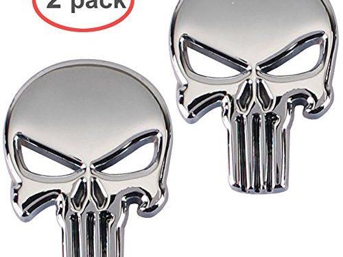 Hong 111 3D Metal Decal Skull Punisher Vehicle Car Motorcycle Sticker 2-pack