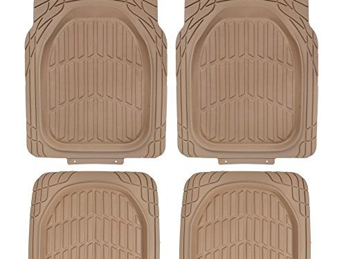 All Weather Protection – Motor Trend FlexTough Tortoise – Deep Dish Tan Beige – Heavy Duty Rubber Floor Mats for Car SUV Van & Truck