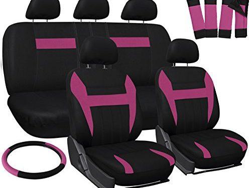 Full Set – OxGord Car Seat Cover – Pink Black fits Car, Truck, Van, SUV