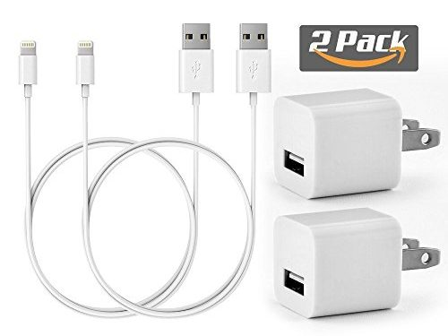 PC Cellular 2 Pack 1A Charger Power Adapter + 2x 1 Meter 8 Pin certified charging cables for iPhone 8 8 Plus 7 7 Plus SE 6 6S Plus 5S 5C 5 iPod 5 Nano 7 White X2