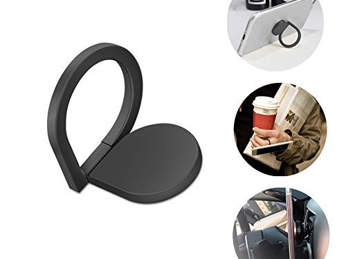 Cell phone Ring Holder, Iphone finger Grip/Stand/Kickstand/Car Mount,360°Rotation and 180°Flip ,WashableRemovable for iPhone Ipad Samsung Galaxy HuaweiBlack