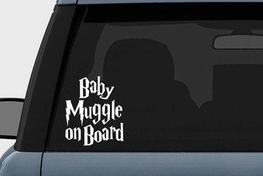 Harry Potter Baby Muggle on Board Vinyl Decal Sticker 5.5″ inches White
