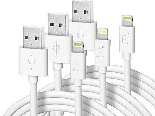 Thick/White2 Meter – Enther 6 feet USB to Lightning Cable MFI Apple Certified 3 Pack Charging Cord for Fast Data Transfer and Charge