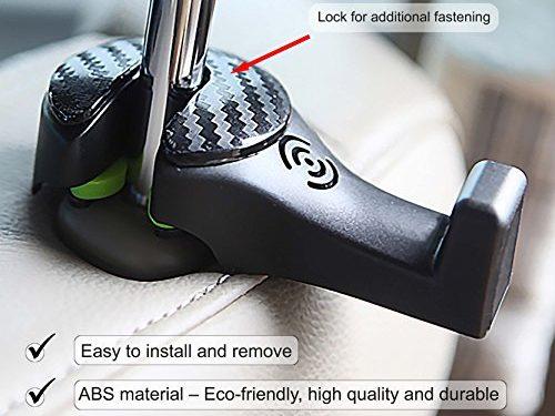 Black set of 2. MONEY BACK GUARANTEE! – Multifunctional Car Seat Headrest Holder with Lock – i-SMART Car Headrest Hook, Universal Car Hanger Hook for Bag, Grocery & Cloth