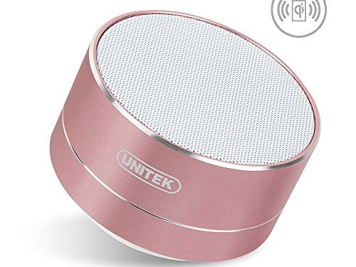 Qi Wireless Charged Bluetooth Speaker, UNITEK Portable Outdoor Bluetooth V4.0 Speaker, Support Wired Charger, w/ Enhanced Bass, FM Radio, Built-in Mic, Hands-Free & Micro SD Card Slot, Rose Gold