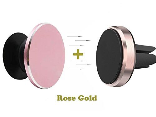 Pop Out Phone Grip and Stand, Socket Mobile Holder for Phone & Tablet Built with Metal ,Phone Holder for Car Air Vent,Magnetic Mount,Car Mount Phone Holder Rose gold