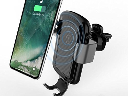 LICHEERS Wireless Car Charger, Gravity Car Mount Wireless Charger Phone Holder for iPhone X/8/8 Plus Samsung Galaxy S8, S8 Plus, S7, S7 Edge, S6 Edge Plus, Note 8 Black