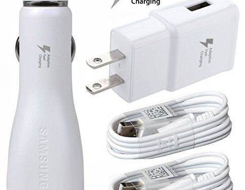 Bulk Packaging – AT&T Samsung Galaxy S8 Adaptive Fast Charger Type C Cable Kit! 1 DUAL Car + 1 Home Charger + 2x Type C USB Cable AFC uses dual voltages for up to 50% faster charging!