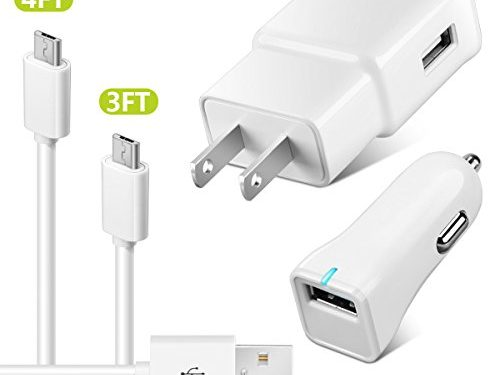 Adaptive Fast Charger Galaxy S7, ZEUUE Wall Charger Car Charger Kit QC2.0 with 4FT/3FT Micro USB Cable for S6/ S6 plus, S4, S3 / Galaxy Note 5, Note 4 / Galaxy Tab Pro White Micro 4in1