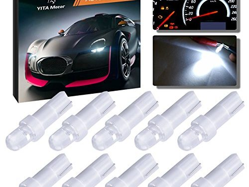 YITAMOTOR 10 Pack T5 Hat 5050 Tri-Cell 1-SMD LED Dashboard Gauge Instrument Panel White Light Bulb Lamp 37 58 70 73 74 12V