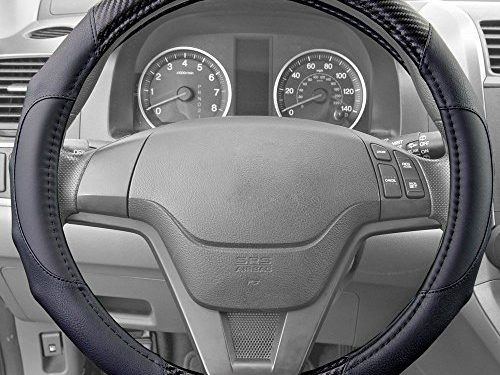Motor Trend GripDrive Carbon Fiber Series – Steering Wheel Cover – Synthetic Leather Comfort Grip Handles Black