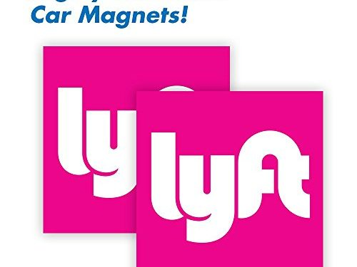 Durable Car Door/Bumper Magnet w/ Highly Reflective Vinyl – 5″x5″ – Wall26 Lyft Driver Magnet – Set of 2 – Sign for Uber and Rideshare Drivers