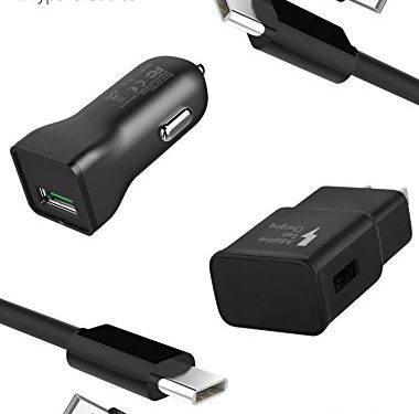 Car Charger + Wall Charger + 2 Type-C Cable  Fast Charging up to 50% faster charging! – Galaxy S9 / Galaxy S8 / Note 8 / Fast Charger Type-C 2.0 Cable Kit by Ixir Compatible with Samsung Products