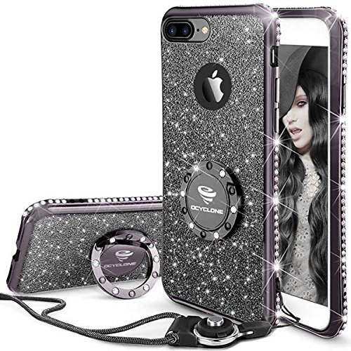 de32c7cf77 Mauve Black - iPhone 7 Plus Case, iPhone 8 Plus Case, Glitter Cute Phone  Case Girls with Kickstand, Bling Diamond Rhinestone Bumper Ring Stand Soft  ...