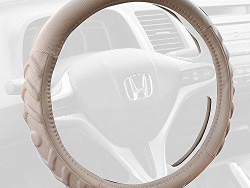 Honda 100% Odorless Car Steering Wheel Cover – Tan Beige, Standard 14.5 to 15.5 inch Wheel