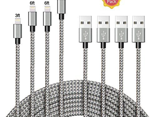 A8 POWER Lightning Cable,4 Pack 3FT 6FT 6FT 9FT Nylon Braided iPhone Lightning Charging Cable