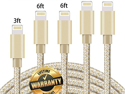 GUIGUI iPhone Charger 5Pack 3FT 6FT 6FT 10FT 10FT, Extra Long Nylon Braided Charging Cord Lightning Cable to USB Charger for iPhone X, 8, 7, 7 Plus, 6S, 6, SE, 5S, 5, iPad, iPod Nano 7 Gold