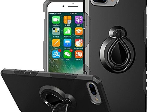 iPhone 8 Plus Case, iPhone 7 Plus Case, JTCTC Adjustable 360 Rotation Ring Holder Armor Case with Kickstand and Magnetic Metal Patch Scratch And Drop Protection for iPhone 8 Plus/7 Plus Black